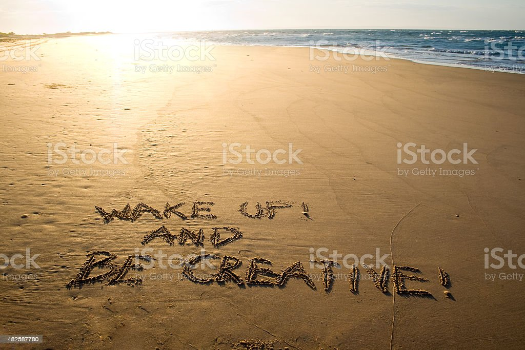 Wake up and be creative! Creative motivation concept. stock photo