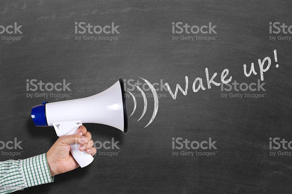 Wake up concept on blackboard stock photo