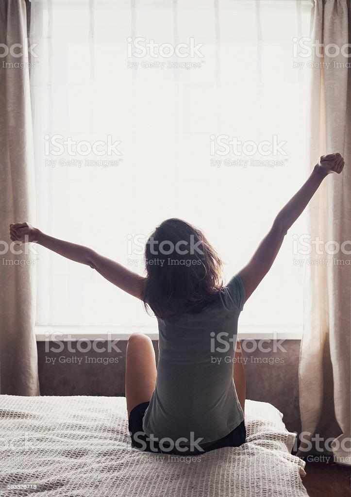 Wake up happy stock photo