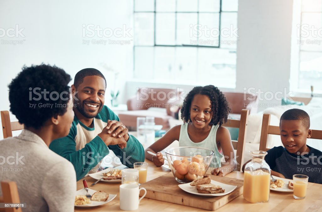 Wake up to the smell of breakfast with your family stock photo