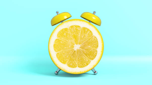 wake up vintage morning shaped lemon. 3d rendering. - squeezing stock pictures, royalty-free photos & images