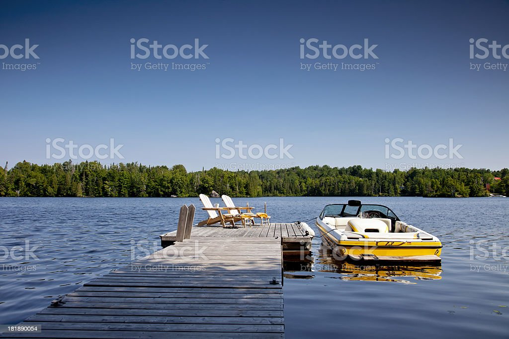 Wakeboard boat and Dock stock photo