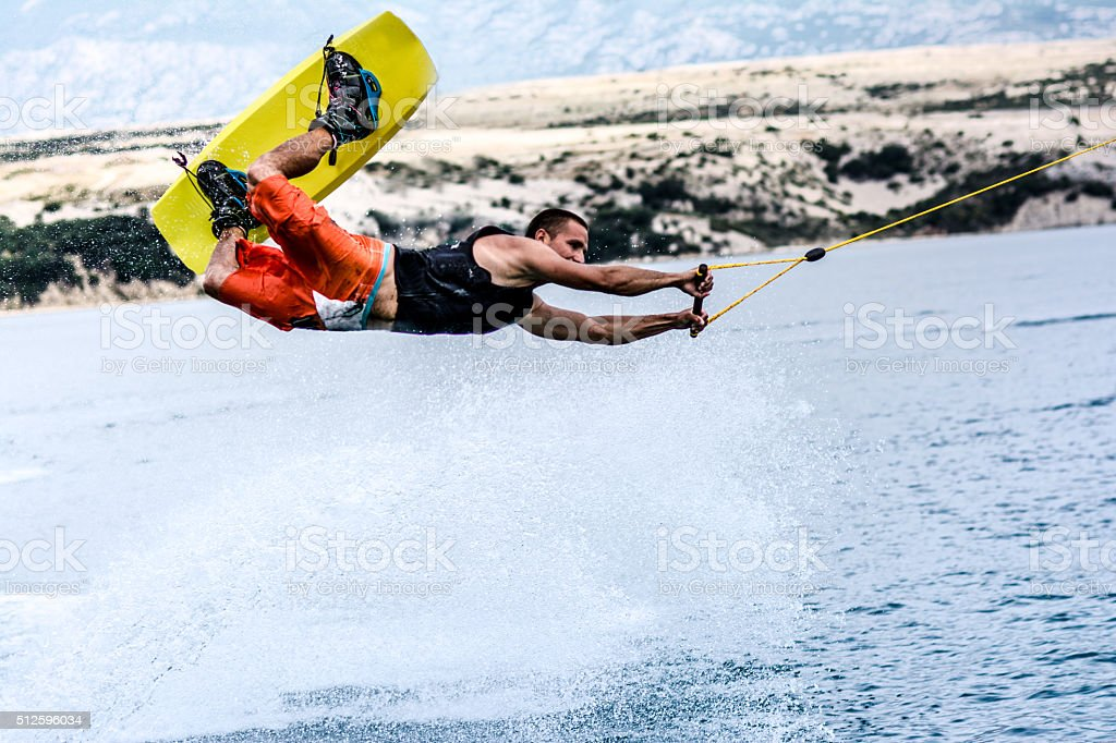 Wakeboarder in the air stock photo