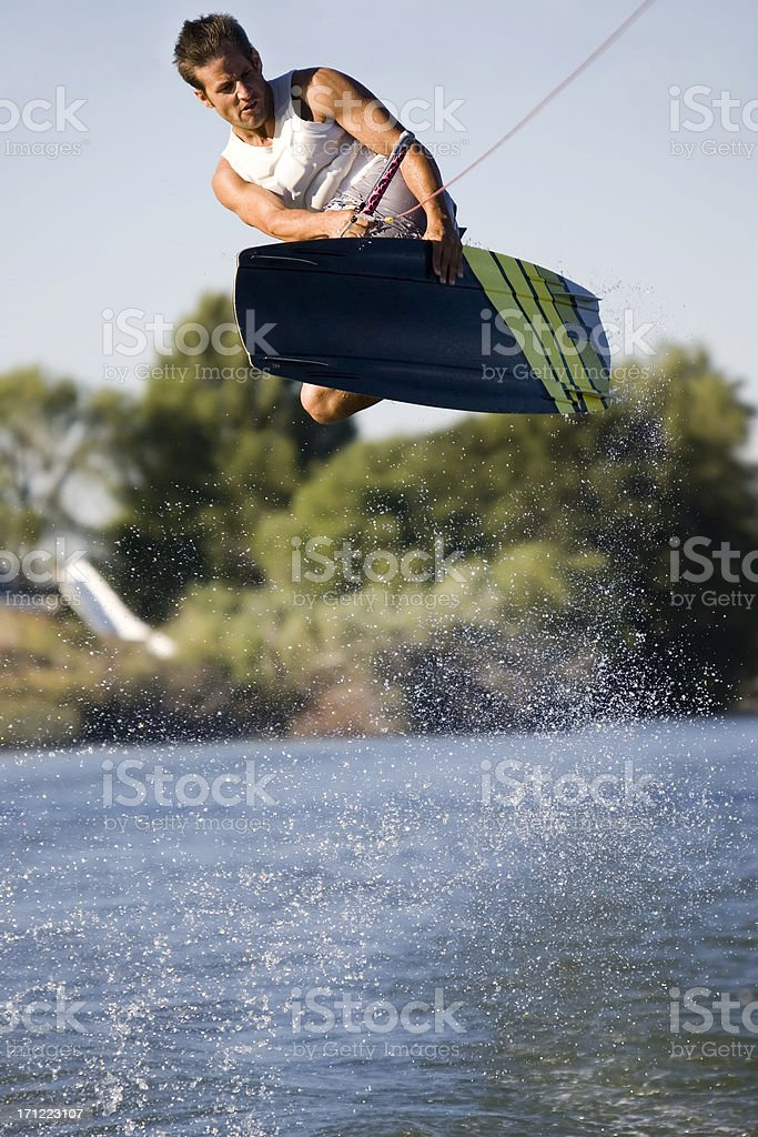 Wakeboarder-Huge Air Heel Side Grab royalty-free stock photo