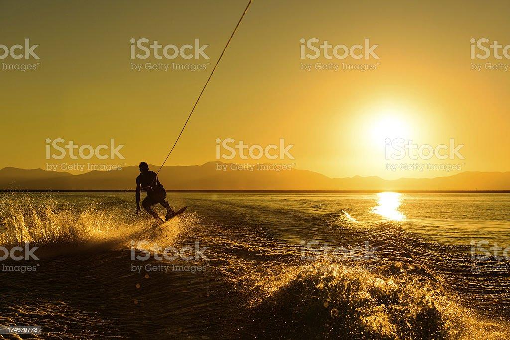 Wakeboarding at Sunset stock photo