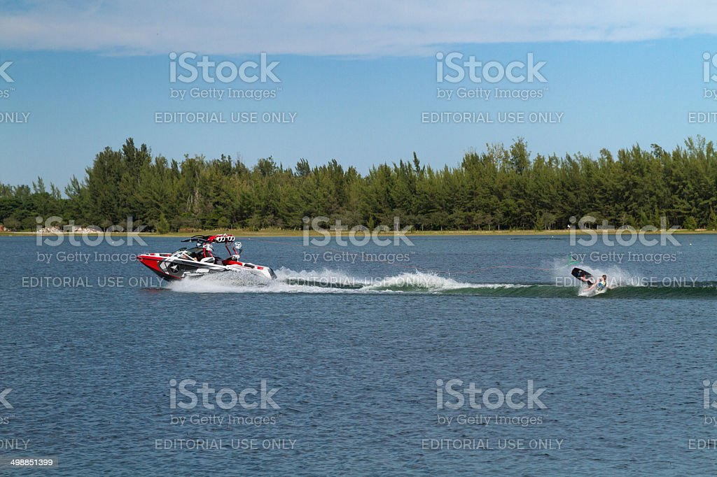 Wakeboarding Fall stock photo