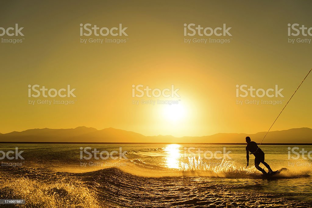 Wakeboarding on Gold stock photo