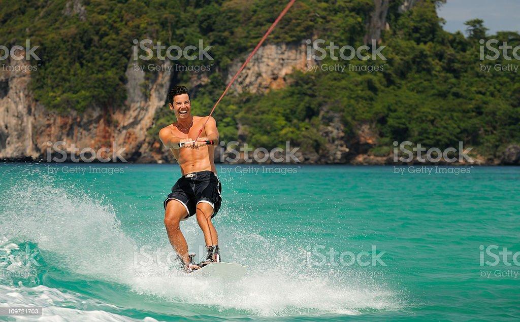 Wakeboarding on tropical Waters (XXXL) stock photo