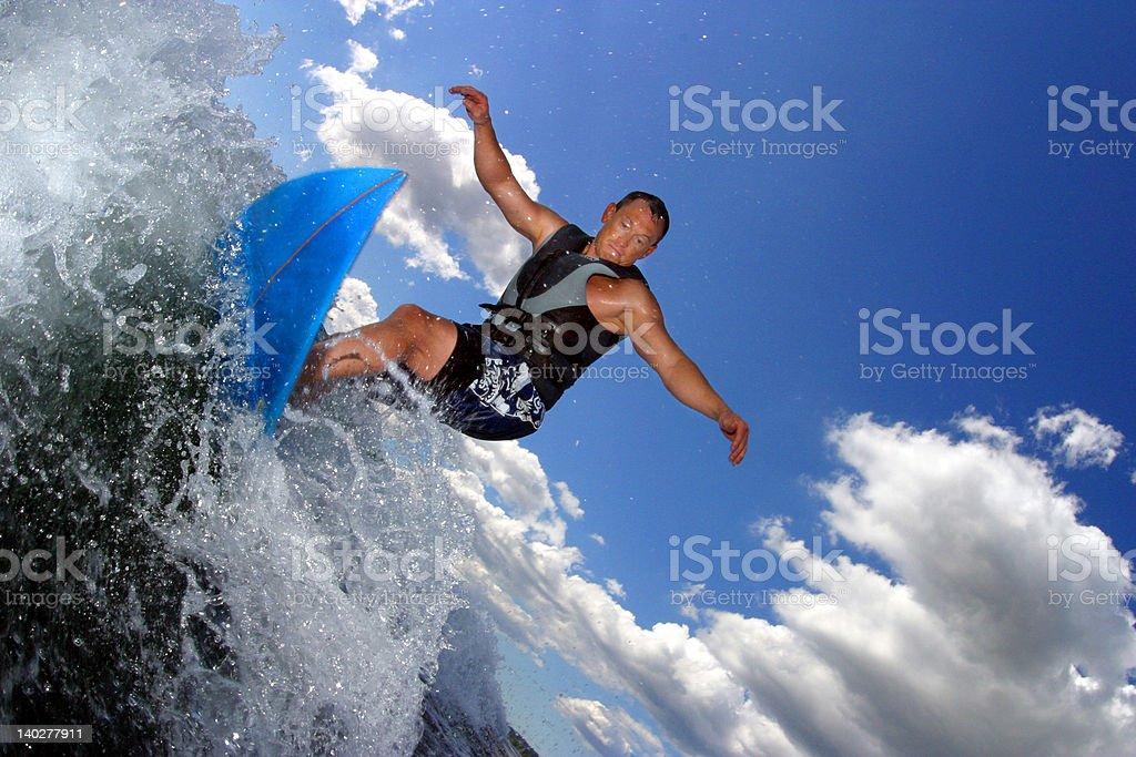 wakesurfing blue stock photo