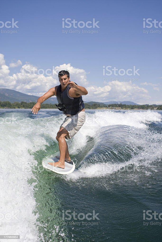 Wakesurfing in Sandpoint, Idaho stock photo