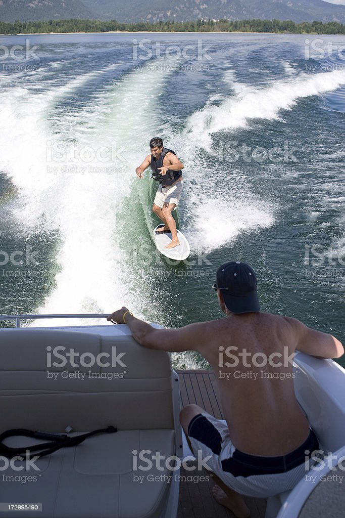 Wakesurfing in Sandpoint, Idaho royalty-free stock photo