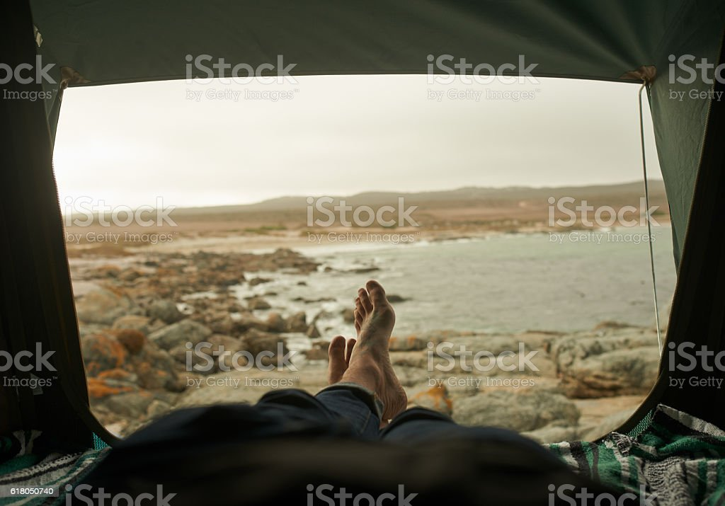 Waking up a happy camper stock photo