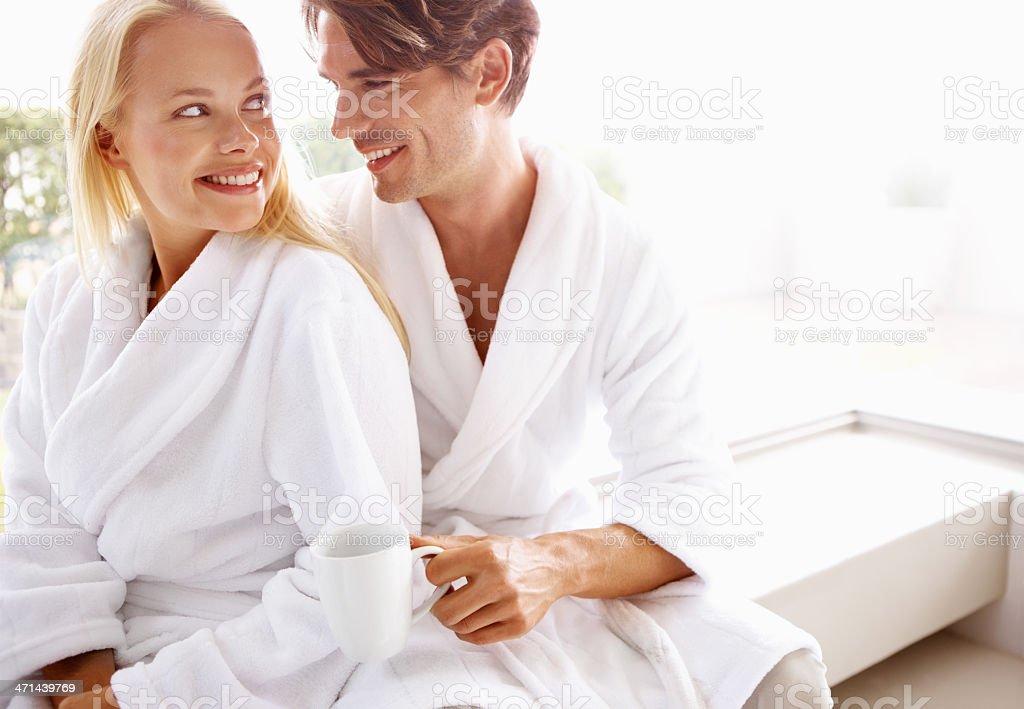 Waking up fresh together stock photo
