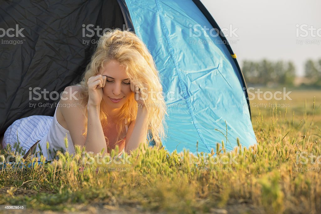 Waking up in camping at sunrise royalty-free stock photo