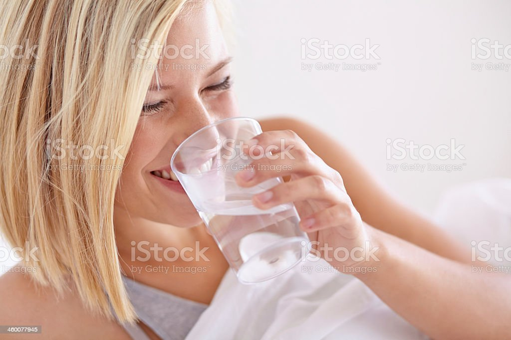 Waking up with a bit of refreshment stock photo