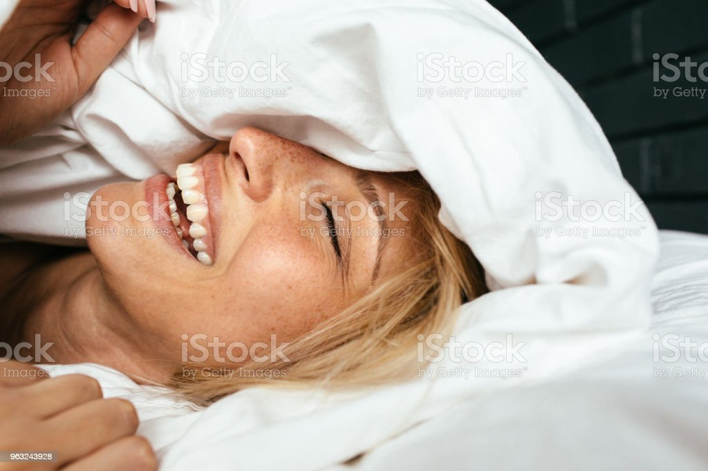 Waking up with a smile stock photo