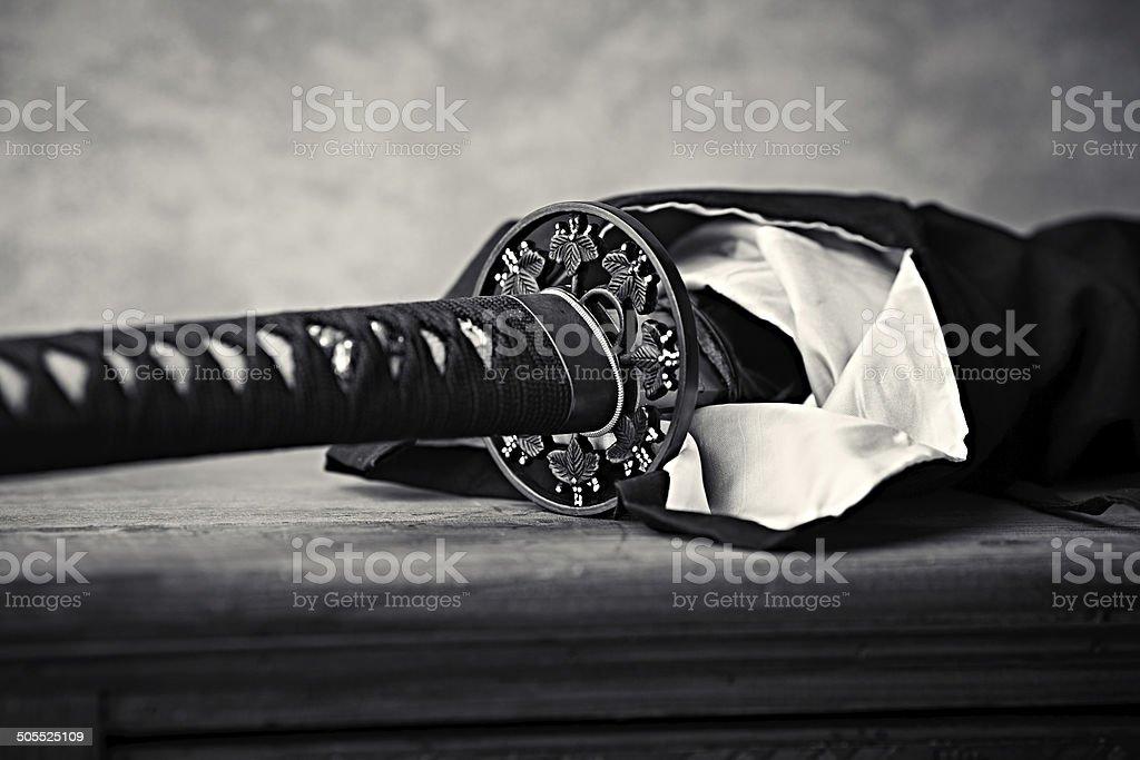 Wakizashi, Traditional Japanese Sword (close-up) stock photo