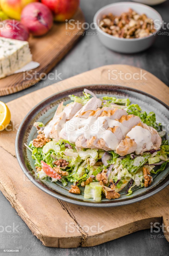 Waldorf salad with grilled chicken stock photo