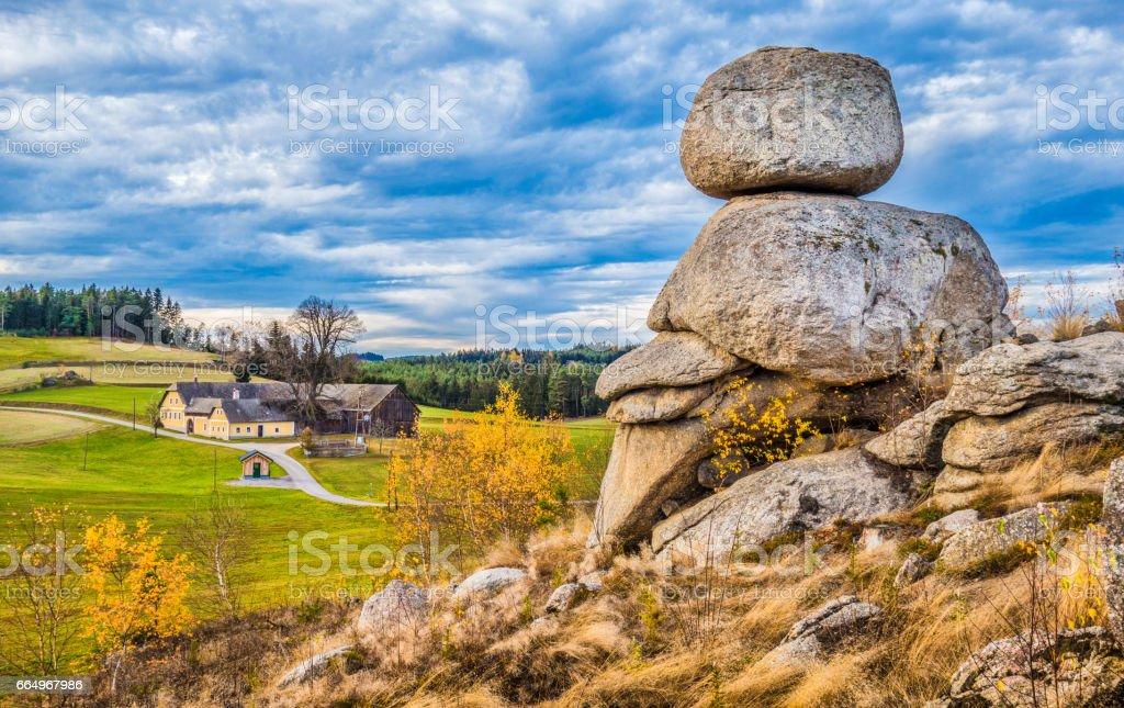 Waldviertel scenery with famous Wackelsteine rocking stones, Lower Austria region, Austria stock photo