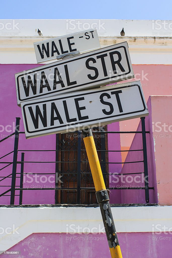 Wale street sign post stock photo