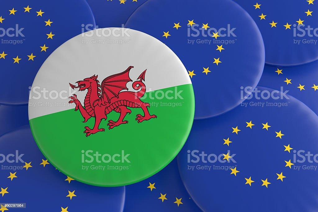 Wales And European Union: Welsh Flag EU Flag Badges, illustration royaltyfri bildbanksbilder