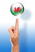 Wales button welsh flag pointing with human hand