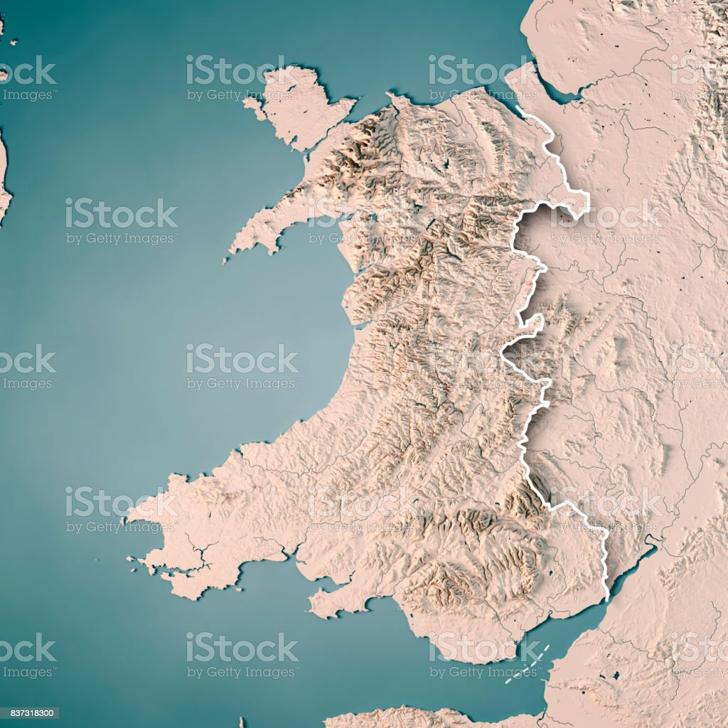 Wales Country 3d Render Topographic Map Neutral Border Stock Photo