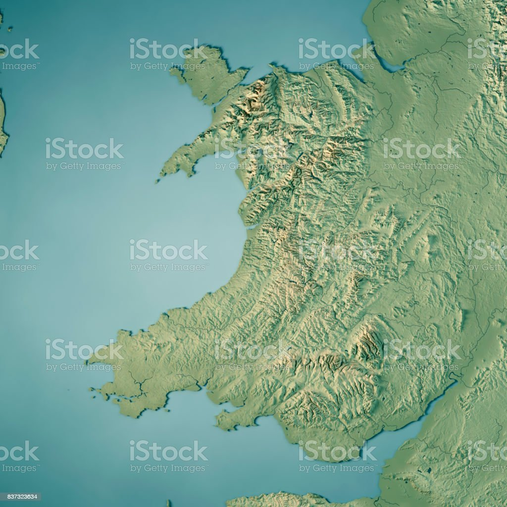 Wales Country 3d Render Topographic Map Stock Photo More Pictures