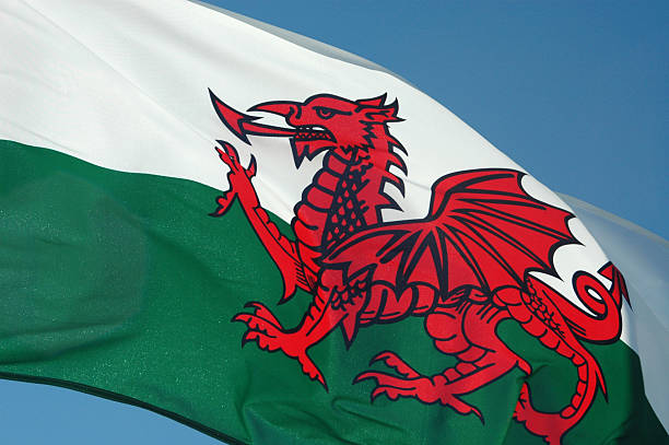 Wales Flag Flying Wales Flag wales stock pictures, royalty-free photos & images
