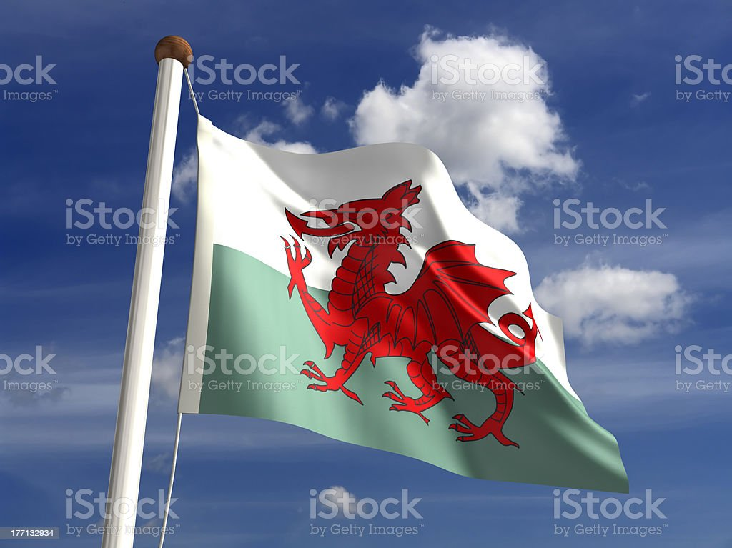 Wales flag (with clipping path) stock photo