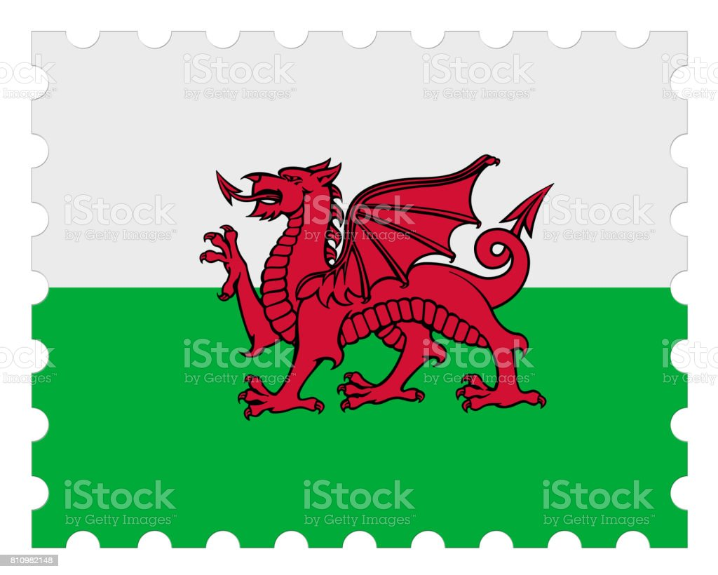 Wales Flag Postage Stamp, 3d illustration on white background stock photo