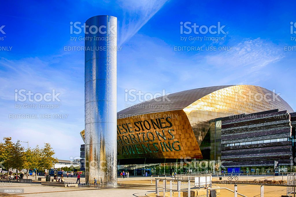 Wales Millenium Centre building and Torchwood column in Cardiff, UK stock photo