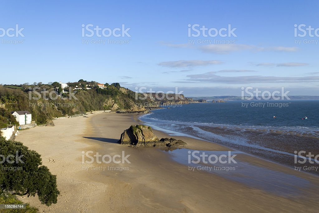 UK, Wales, Pembrokeshire, winter sunshine on North Beach, Tenby royalty-free stock photo