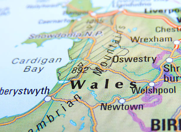 Wales Map of Wales, England. wales stock pictures, royalty-free photos & images