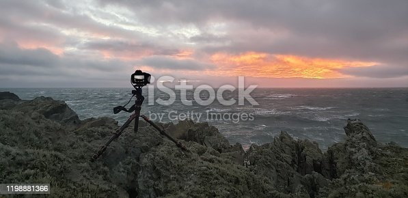A coastal Wales sunset with camera gear.