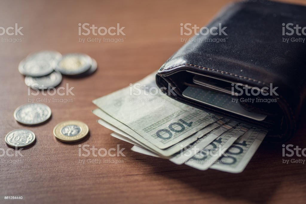 Walet with polich money stock photo
