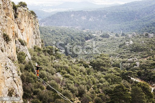 istock Walk a line in the sky.Turkish Highline Carnival in Antalya. 969122740