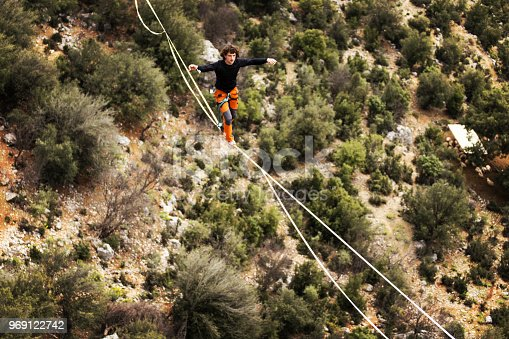 499257721 istock photo Walk a line in the sky.Turkish Highline Carnival in Antalya. 969122742