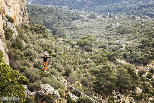 istock Walk a line in the sky.Turkish Highline Carnival in Antalya. 969122746