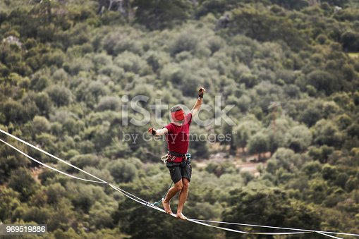 499257721 istock photo Walk a line in the sky.Turkish Highline Carnival in Antalya. 969519886