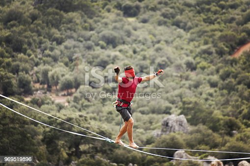 499257721 istock photo Walk a line in the sky.Turkish Highline Carnival in Antalya. 969519896