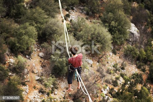 499257721 istock photo Walk a line in the sky.Turkish Highline Carnival in Antalya. 973085392