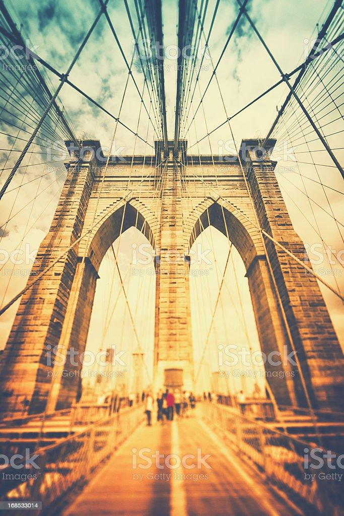 Walk across Brooklyn Bridge / New York City royalty-free stock photo