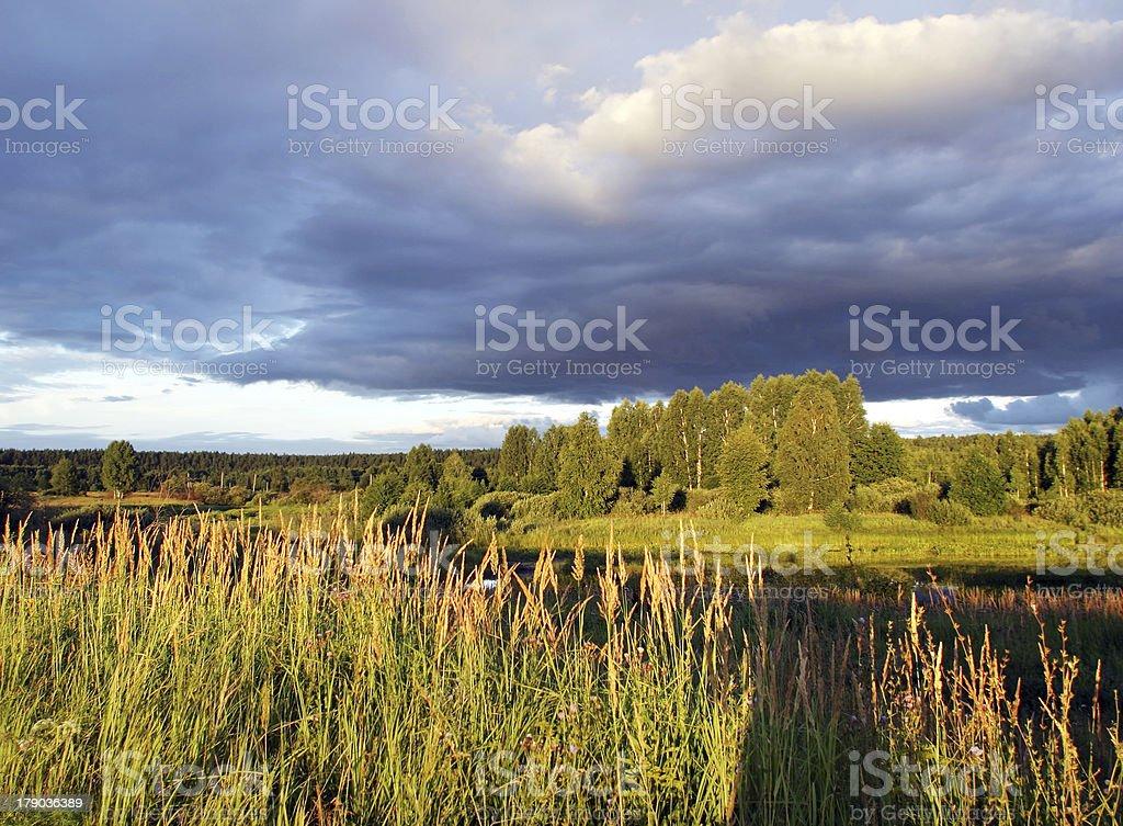 walk along the river at sunset royalty-free stock photo