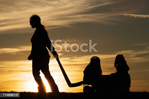 a silhouette of a mother and her children taking a walk.
