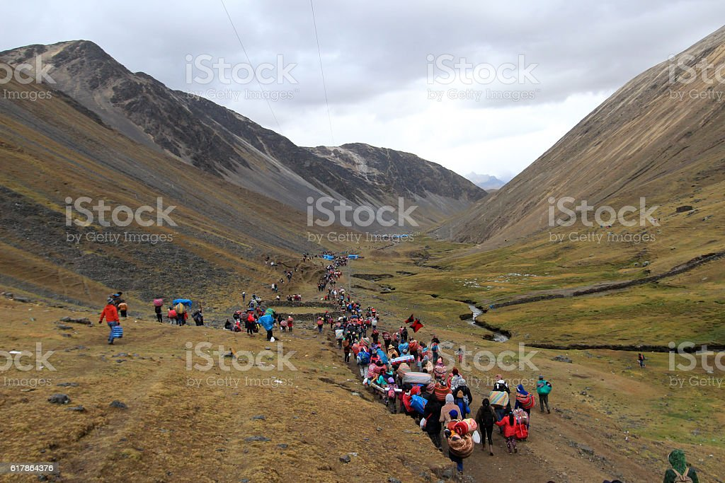 Walk back at Quyllurit'i inca festival in the peruvian stock photo