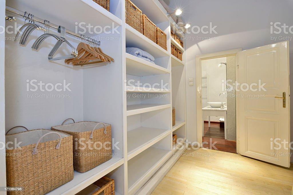 Walk in closet stock photo