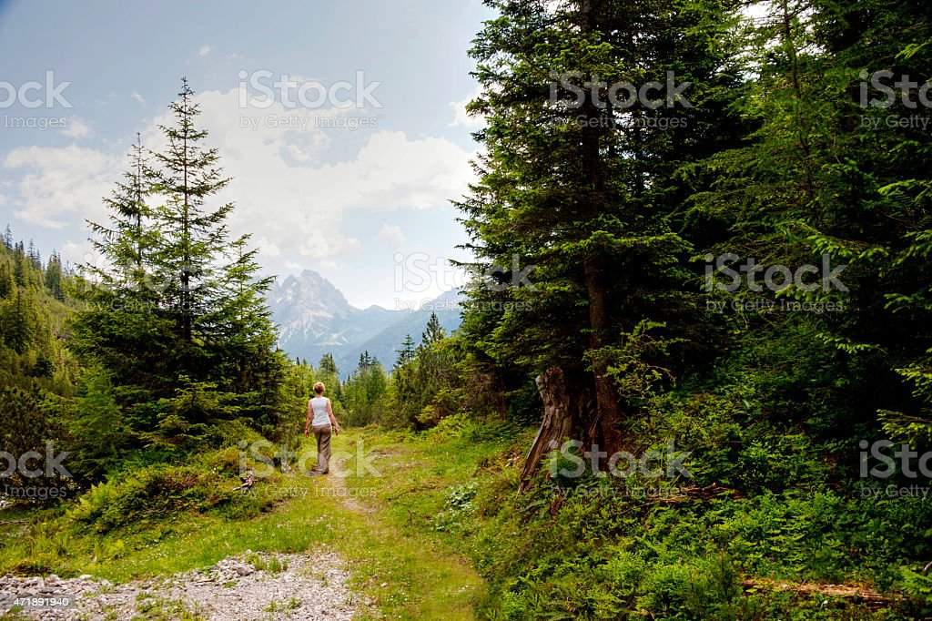 Walk in the Alps stock photo