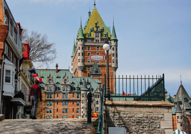 Walk in the old city of Quebec. stock photo