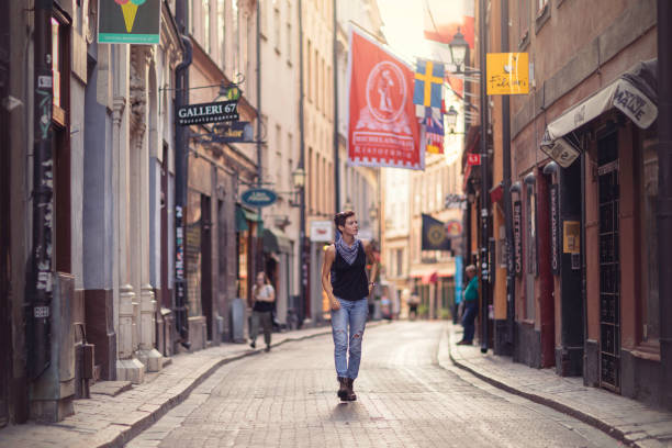 A walk in the streets of Gamla Stan, Stockholm stock photo